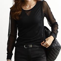 正韓 圓領長袖性感透膚針織衫 (黑色)-N.C21