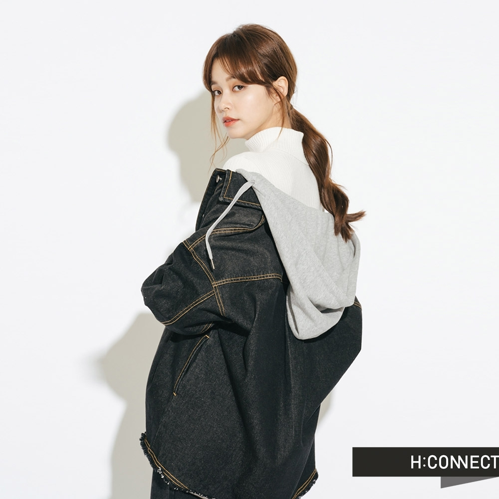 H:CONNECT 韓國品牌 女裝-落肩連帽牛仔外套-黑