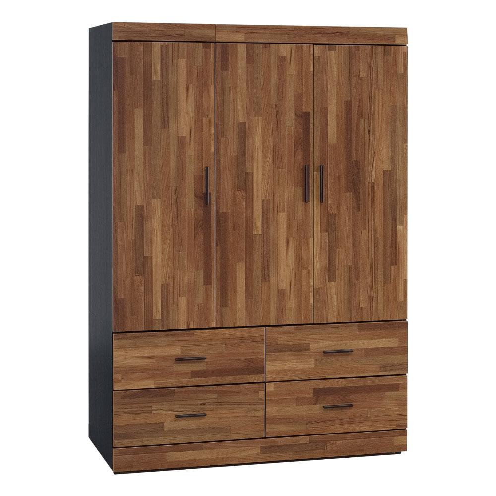 綠活居 拉雷斯4.1尺木紋四抽衣櫃/收納櫃(附穿衣鏡)-121.5x58x176cm-免組