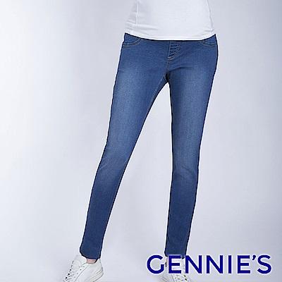 Gennies專櫃-彈力刷色窄管牛仔褲-淺牛仔藍(T4F08)