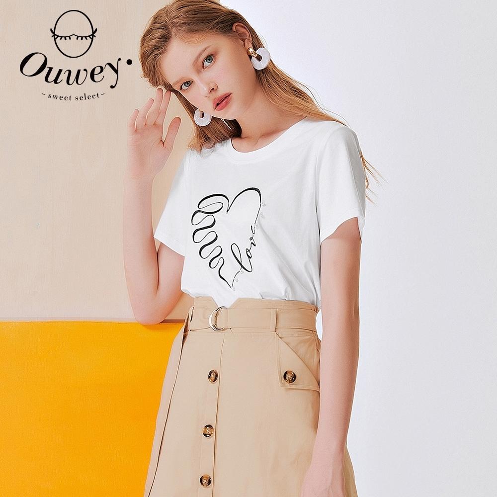 OUWEY歐薇 LOVE愛心刺繡珍珠高含棉上衣(白)3212021209