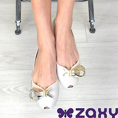 Zaxy 巴西 女 LUXURY 華麗閃耀魚口鞋 (米白)