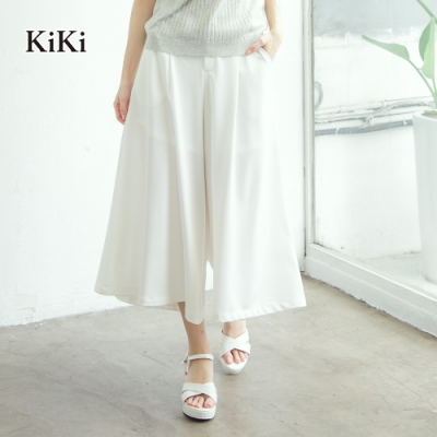 【KiKi】修身柔軟寬口-長褲(白色)