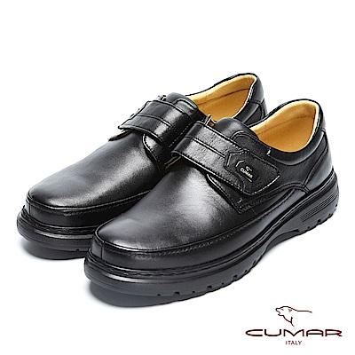 CUMAR舒適真皮 萬年不敗款綿羊皮魔鬼氈氣墊鞋-黑