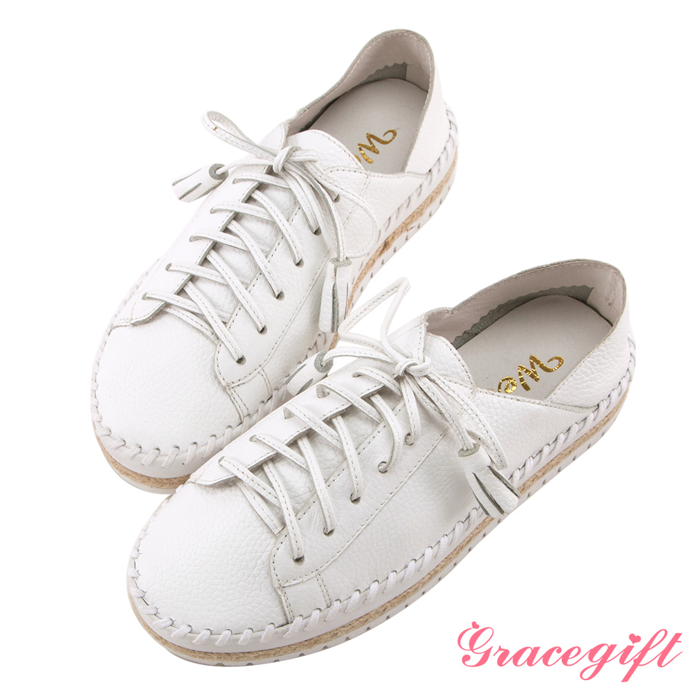 Grace gift X Wei唐葳-全真皮流蘇麻繩厚底休閒鞋 白