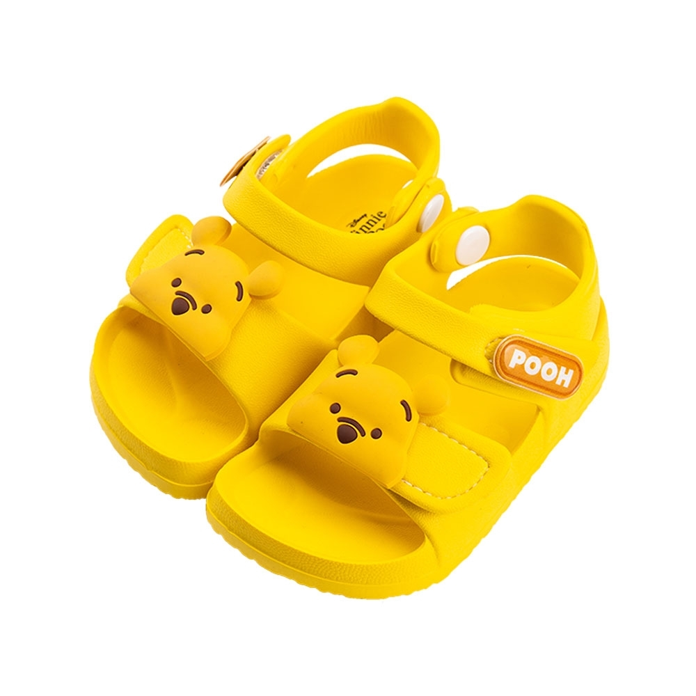 迪士尼童鞋 小熊維尼 立體造型防水涼鞋-黃(柏睿鞋業)
