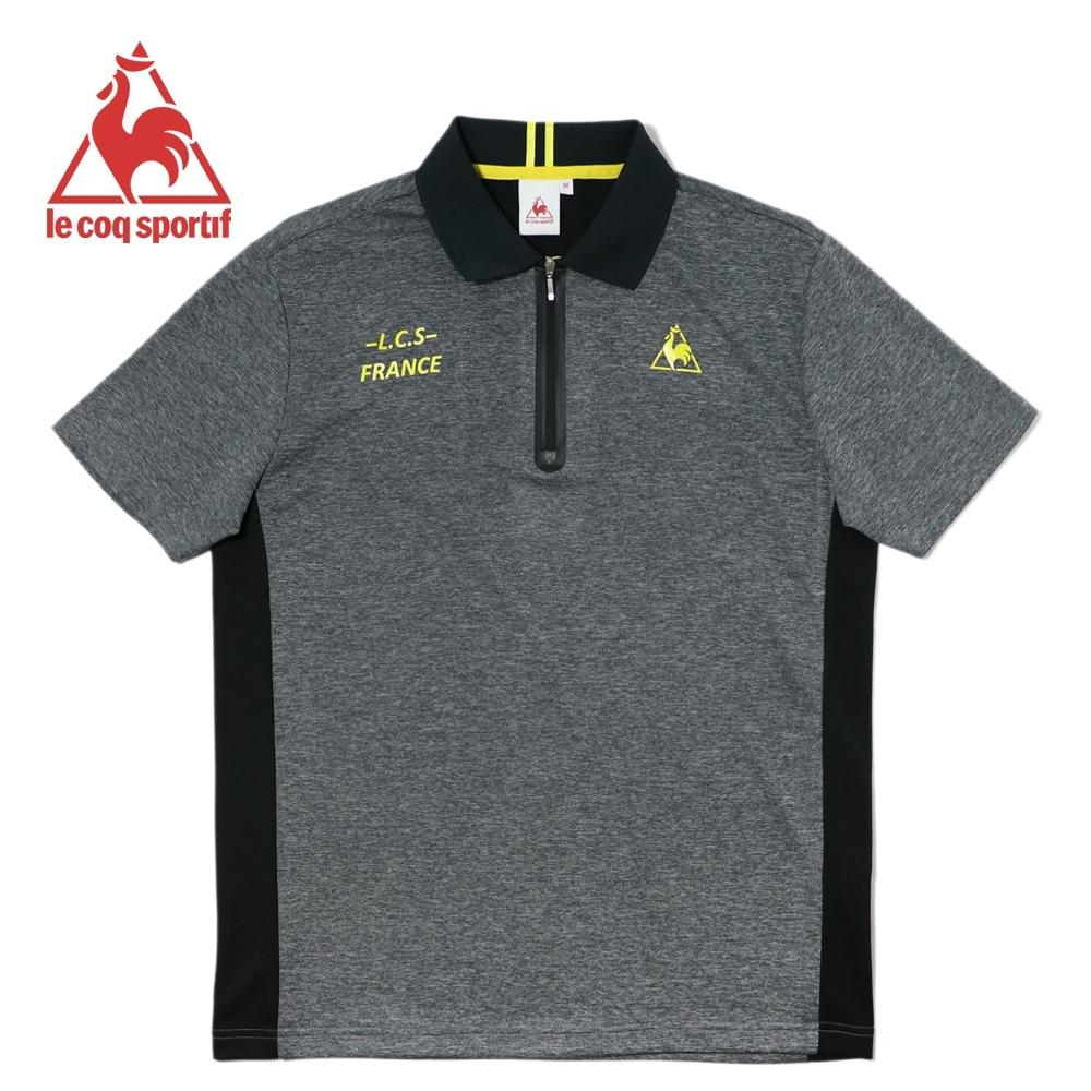 le coq sportif 膠條裝飾拉鍊吸濕排汗運動短袖POLO衫 男-黑