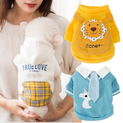 寵愛有家-寵物秋冬可愛黃色獅仔背包藍色紳士3件組服飾(寵物衣服)