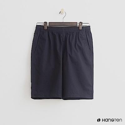 Hang Ten - 男裝-鬆緊純色棉質短褲 - 深藍