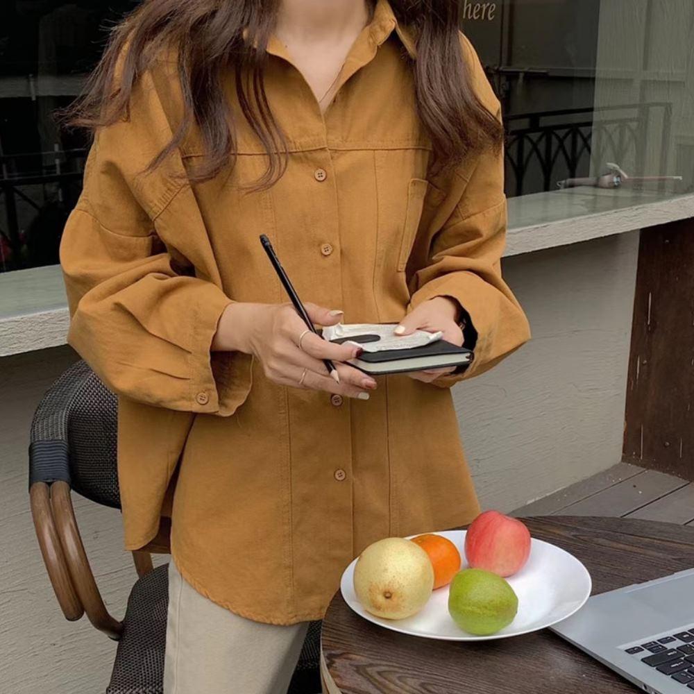 La Belleza簡約休閒單口袋壓條車線水洗排釦襯衫外套