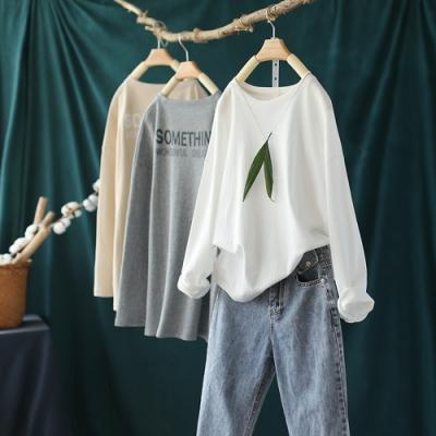 寬鬆純棉印花T恤單色長袖上衣-設計所在