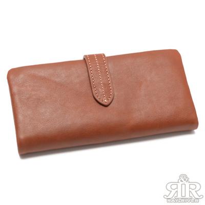 2R 頭層植鞣牛皮 Craftsman 壓釦複層長夾 質感紅棕