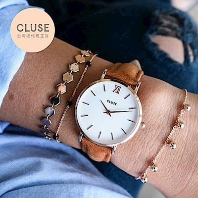【公司貨】CLUSE Minuit 午夜系列腕錶 (玫瑰金框/白錶面/駝色錶帶)