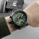 elegantsis 中華民國空軍運輸機限量款 小牛皮帆布魔鬼氈錶帶-綠x黑/48mm