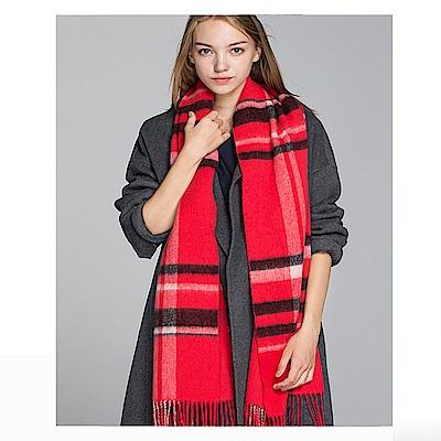 ELLE保暖休閒百搭羊毛格紋雙面圍巾_紅/灰[情人節送禮推薦]