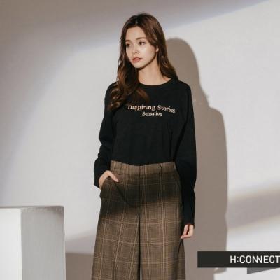 H:CONNECT 韓國品牌 女裝-標語印字棉質上衣-黑