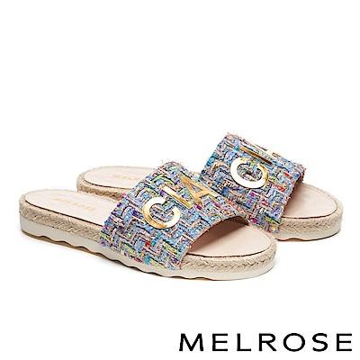 拖鞋 MELROSE 時尚金屬CIAO字樣毛呢厚底拖鞋-藍