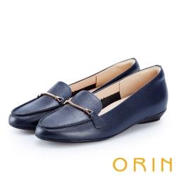 ORIN 女紳時尚 金屬鍊扣牛皮樂福鞋-藍色