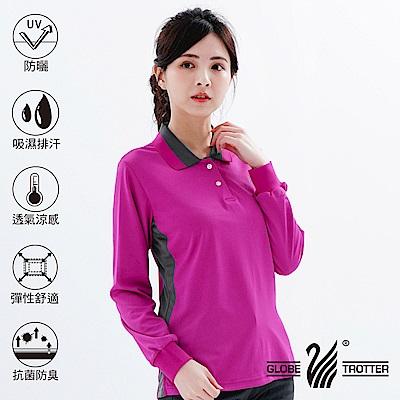 【遊遍天下】MIT女款抗UV吸濕排汗機能POLO長衫L075-1紫紅