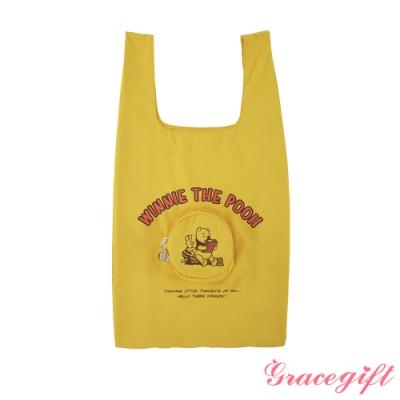 Disney collection by gracegift-小熊維尼摺疊手提袋 黃