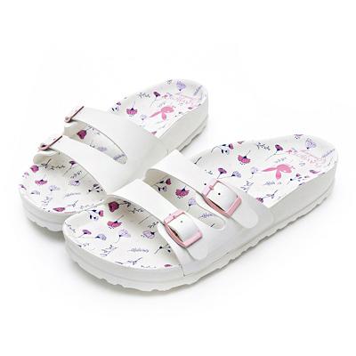 PLAYBOY 粉嫩浪漫雙帶休閒拖鞋-白-YT50311