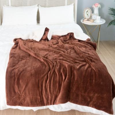 eyah宜雅 法式馬卡龍雙面加厚法蘭絨羊羔絨毯2入組 咖啡