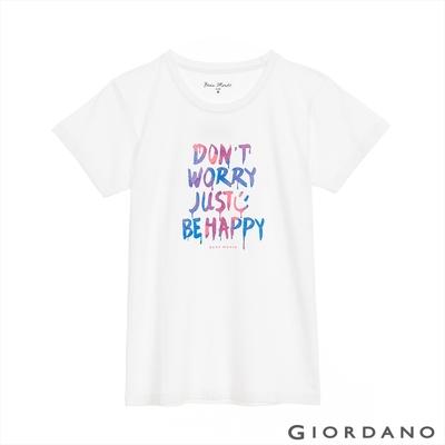GIORDANO 女裝繽紛文字印花短袖T恤 - 12 皎白