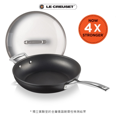 [結帳7折] LE CREUSET 超完美不沾鍋系列TNS單柄單耳煎鍋28cm+玻璃鍋蓋28cm