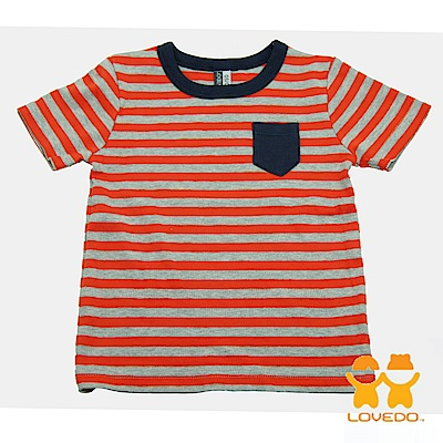 【LOVEDO-艾唯多童裝】簡易時尚 條紋短袖T恤 (橘灰)