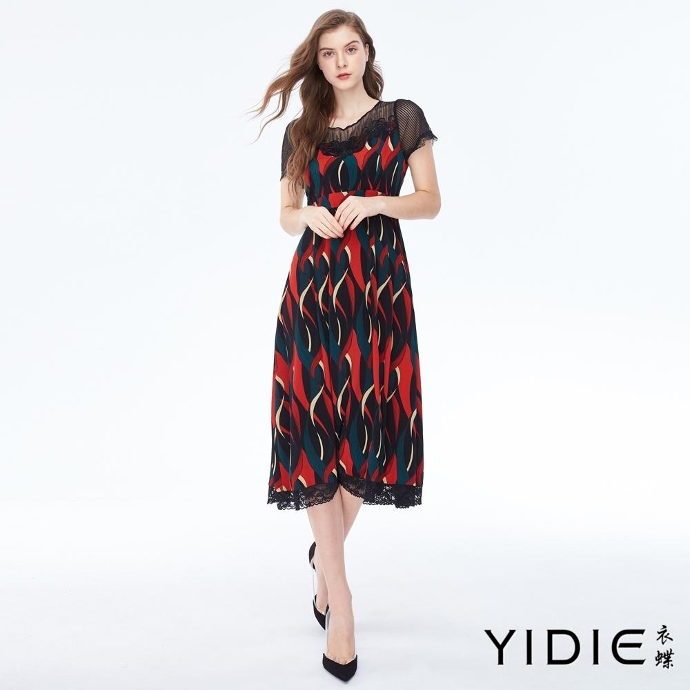 YIDIE衣蝶 飄逸緞帶印花拼接網紗長洋裝