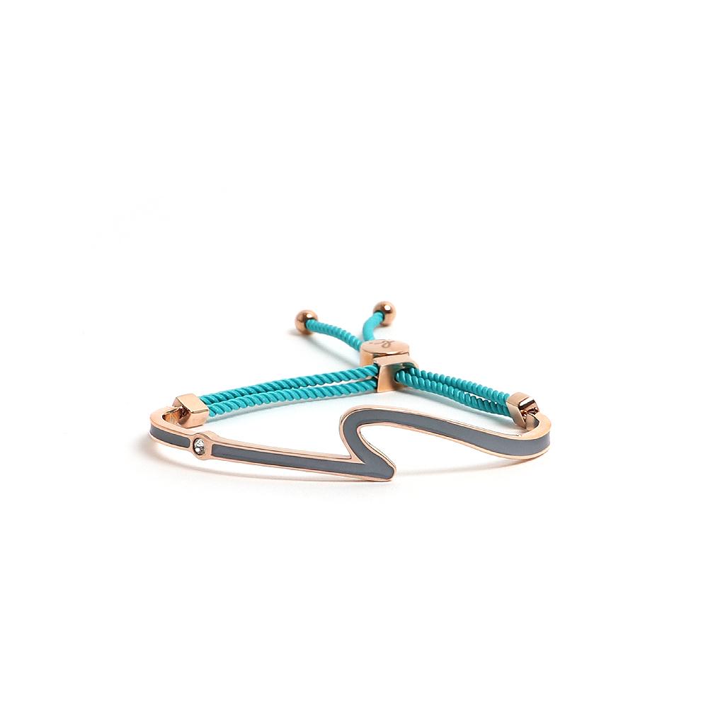 agnes b. 反諷點Logo墨綠琺瑯玫瑰金手環(綠棉繩)