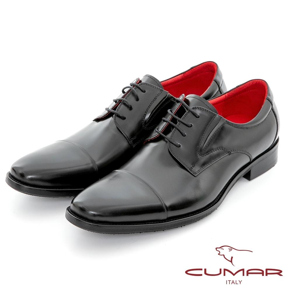 【CUMAR】歐風紳士 真皮綁帶英倫德比鞋-黑色