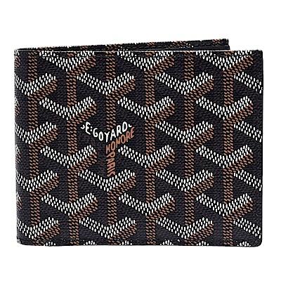 GOYARD 經典滿版LOGO手工帆布摺疊短夾(黑-8卡)