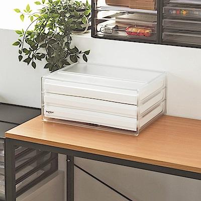 完美主義 桌上型資料櫃/文件櫃/橫式三抽-2入組
