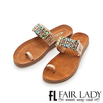 Fair Lady 拼色水鑽寶石套趾涼拖鞋 卡其