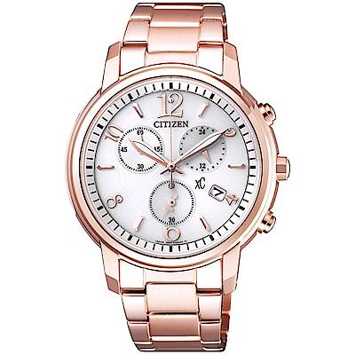 CITIZEN星辰 XC 甜美知性光動能計時女用腕錶-玫瑰金FB1432-55A