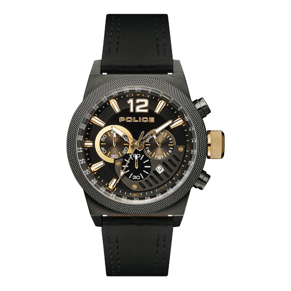 POLICE 雙縫線多功能三眼腕錶-黑色X槍色(15529JSU-02)-47mm
