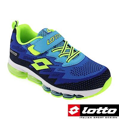 LOTTO 義大利 童 編織氣墊跑鞋(藍)