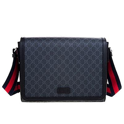 GUCCI 經典GG Supreme 藍紅藍織帶帆布斜背包 (黑色)