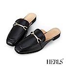 HERLS 紳士品味 內真皮馬銜釦方頭低跟穆勒鞋-黑色