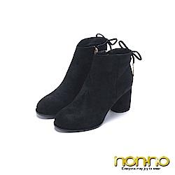 nonno 諾諾 素雅時尚 側拉鍊跟靴 黑