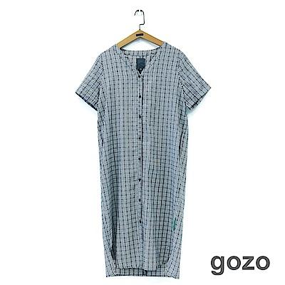 gozo 細格扭結簡約休閒洋裝(二色)