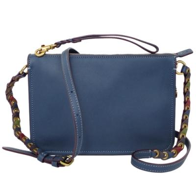 COACH藏青藍經典全皮環編背帶手掛/斜背小包