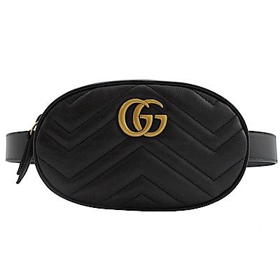 GUCCI Marmont縫線牛皮金屬GG LOGO腰包(黑)