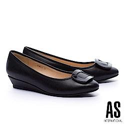 低跟鞋 AS 典雅質感方釦羊皮楔型低跟鞋-黑