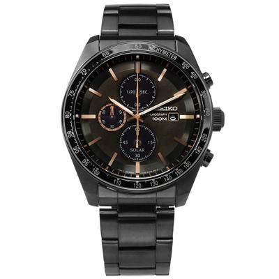 SEIKO 太陽能藍寶石水晶防水100米不鏽鋼手錶-深褐x鍍深灰/43mm