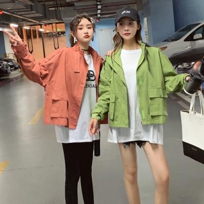 韓版可愛個性立領短版外套S-XL(共三色)-WHATDAY