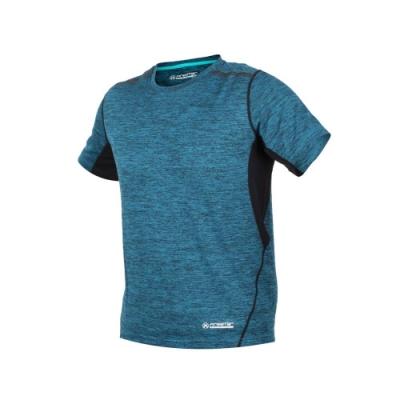 FIRESTAR 男短袖吸排圓領衫-T恤 慢跑 路跑 麻花藍黑