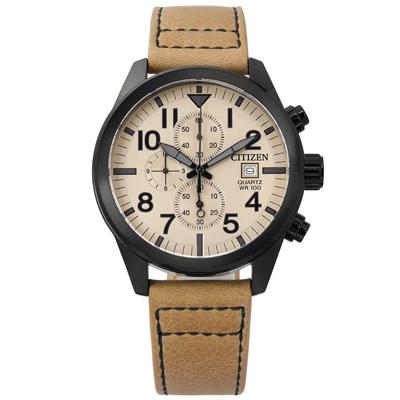 CITIZEN 三眼計時日期礦石強化玻璃防水真皮手錶-卡其x黑框/43mm