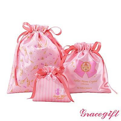 Grace gift-美少女戰士圖案抽繩收納袋組 粉